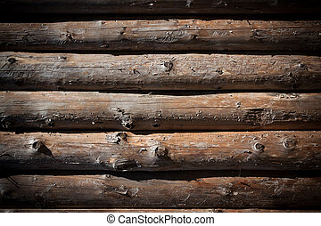 Wooden logs wall of rural house