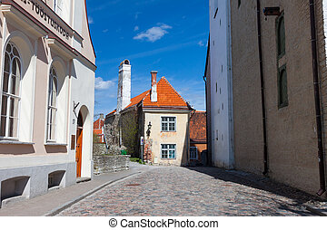 Colorful street in the Old Town of Tallinn