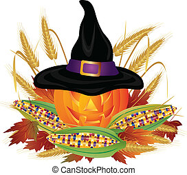 Pumpkin with Pilgrim Hat Illustration - Pumpkin Carved...