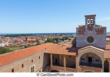 City panorama of Perpignan buildings - City panorama from...