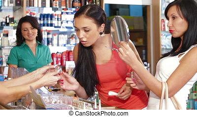 Shopping in Beauty Department - Shopping women choosing...