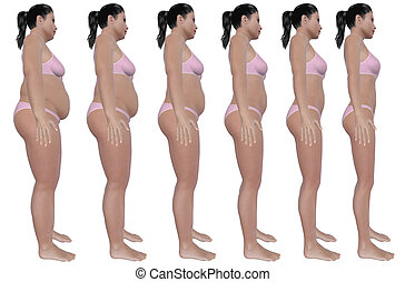 Weight Loss Progress Side View - A side view illustration of...