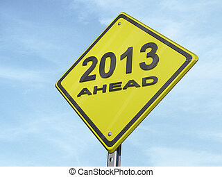 """Yield 2013 - A yield road sign with """"2013 ahead"""""""