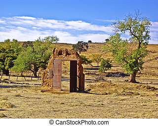 Doorway to Nowhere - Doorway left standing alone in desert...