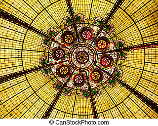 Stained Glass - Multi colored stained glass ceiling
