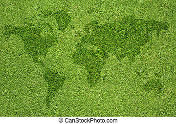 Word map on green grass texture and background
