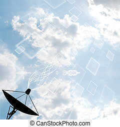 Satellite dish on sky background