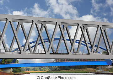 Two bridges - The new Peace Bridge in Genthin runs the...