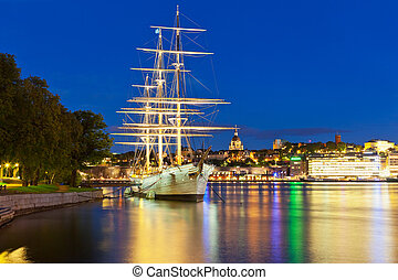 Night scenery of Stockholm, Sweden - Wonderful summer night...