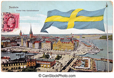 Stocholm Retro Postcard - SWEDEN - CIRCA 1908: A stamp...