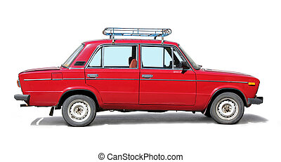 Old Red Car - Old red car side view on white background.