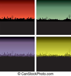 Set of Halloween night backgrounds