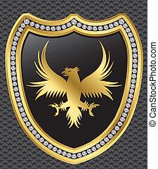Protection shield with eagle, golde