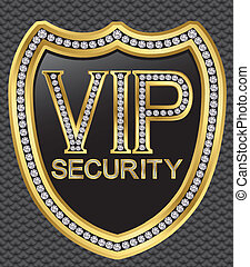 Protection security vip shield, golden with diamonds, vector