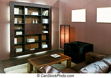 Brown living area - Brown living room with wooden book shelf...