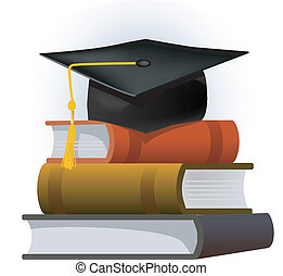 Books with the graduate cap - Illustration of