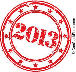 grunge, heureux, nouveau, 2013, année, vecteur