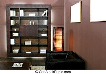 Brown shelf - Wooden book shelf in brown living room