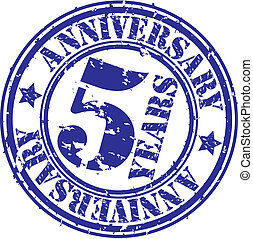 Grunge 5 years anniversary rubber stamp, vector