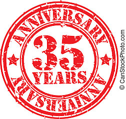 Grunge 35 years anniversary rubber stamp, vector