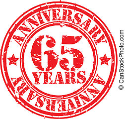 Grunge 65 years anniversary rubber stamp, vector