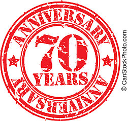 Grunge 70 years anniversary rubber stamp, vector