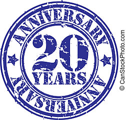Grunge 20 years anniversary rubber stamp, vector