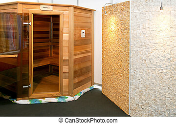 Sauna cabin - Interior of wooden sauna cabin for home
