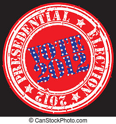 Grunge presedential election 2012 rubber stamp, vector