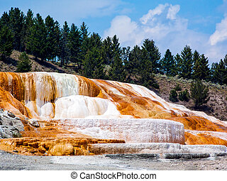 Yellowstones Mammoth Hot Springs - Colorful limestone...