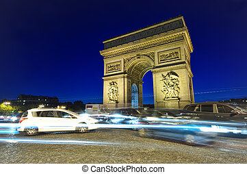 traffic at Arc de Triomphe - Arch of Triumph, Paris, France