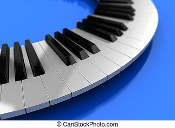 Modern synthesizer  over blue background, 3d illustration