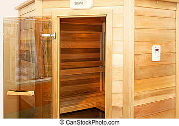 Sauna - Interior of wooden sauna cabin for home