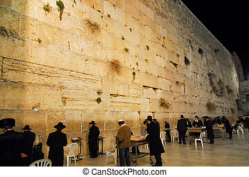 Western Wall at Night - Western Wall Wailing wall in...