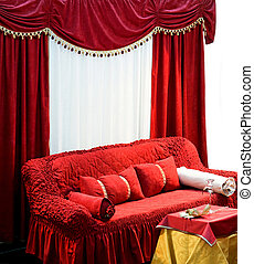 Sofa with curtains