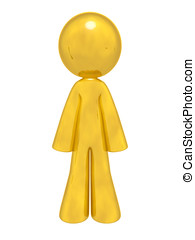 Gold Man Standing - A lone gold man standing up ready to do...