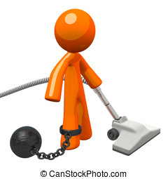Orange Man Prisoner Vacuuming Ball and Chain - Man with a...
