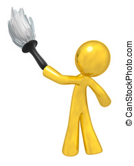 Gold Quality Cleaning Services - Gold man holding a duster,...