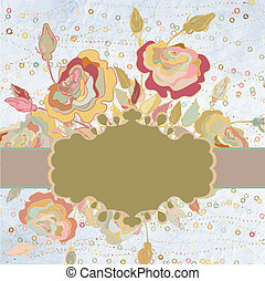 vintage background with flowers and a frame. EPS 8