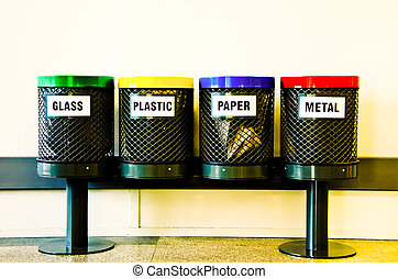 Recycling bins - Four recycling bins, the main materials to...
