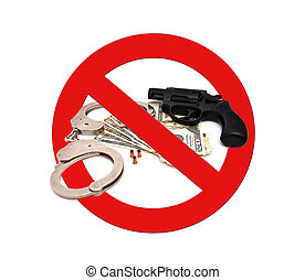 sign stop gun on a white background