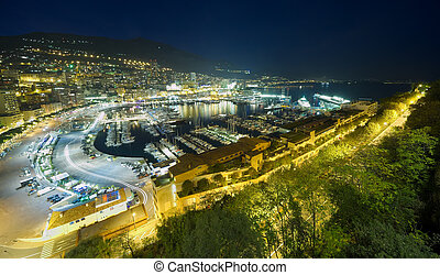 Monte Carlo port night scene - Monte Carlo port, Monaco...