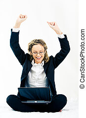 Fantastic! - Portrait of cheerful business woman sitting...