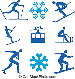 Winter sports icons - Set of icons representing winter...