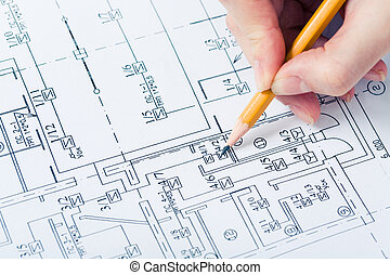 Drawing chart - Close-up of draft of a chart with hand...
