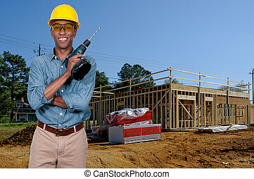 Black Construction Worker - A black man African American...