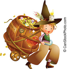 Boy pulling a cart full of coins