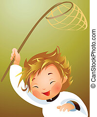 Child holding fishing net