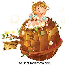 Boy taking a shower in a bathtub