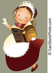 Girl holding book
